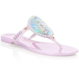 Jack Rogers Holographic jelly whip stitch sandals